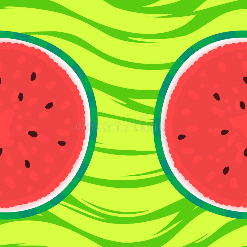 Watermelon card with round slice for summer design. Vector illustration on striped green texture vector illustration