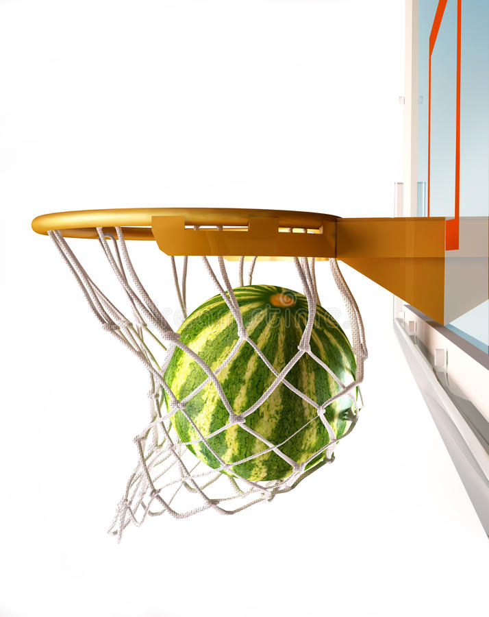 Watermelon centering the basket, close-up view. stock illustration