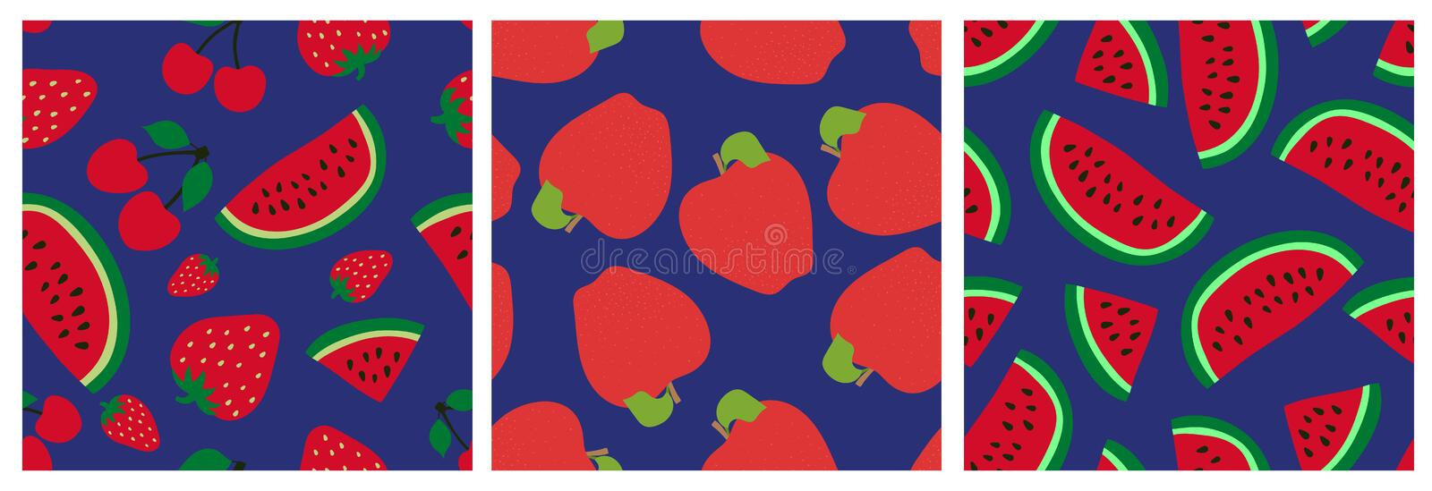 Watermelon, cherry, strawberry and apple. Fruit seamless pattern set. Fashion design. Food print for clothes, linens or curtain. vector illustration
