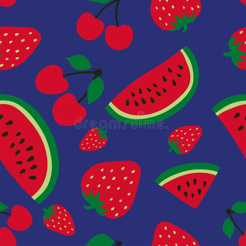 Watermelon, cherry and strawberry seamless pattern. Red berry. Sweet fruits. Fashion design. Food print for dress, textile, royalty free illustration