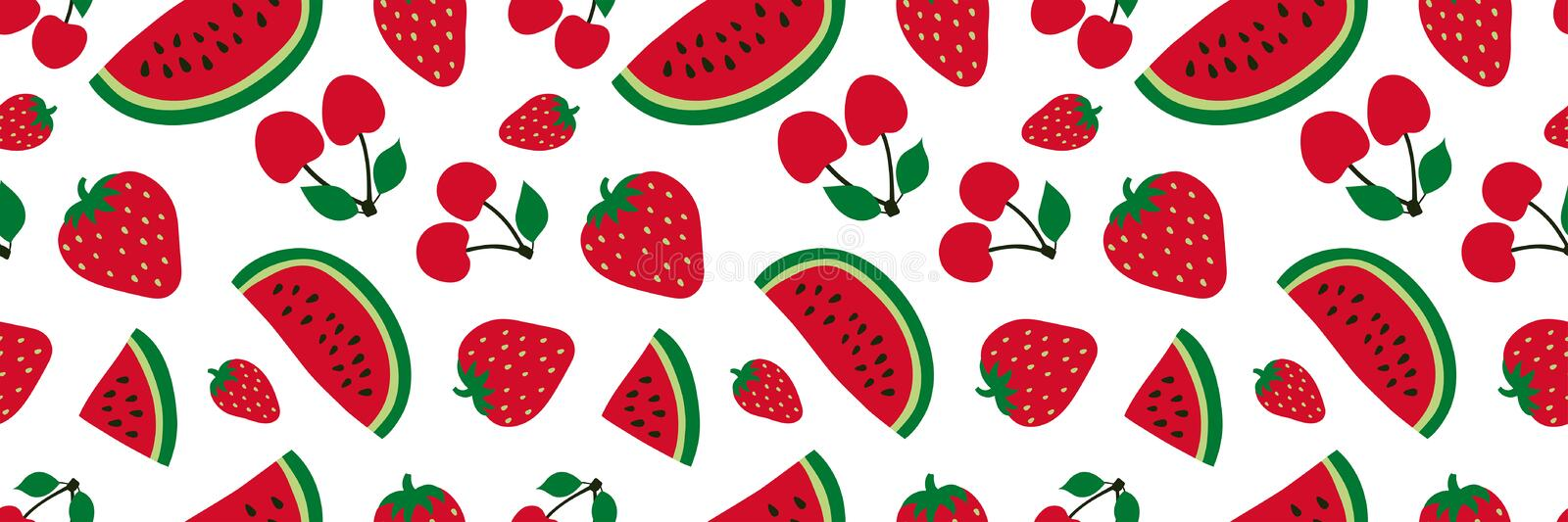 Watermelon, cherry and strawberry seamless pattern. Red berry. Sweet fruits. Fashion design. Food print for dress, textile, vector illustration