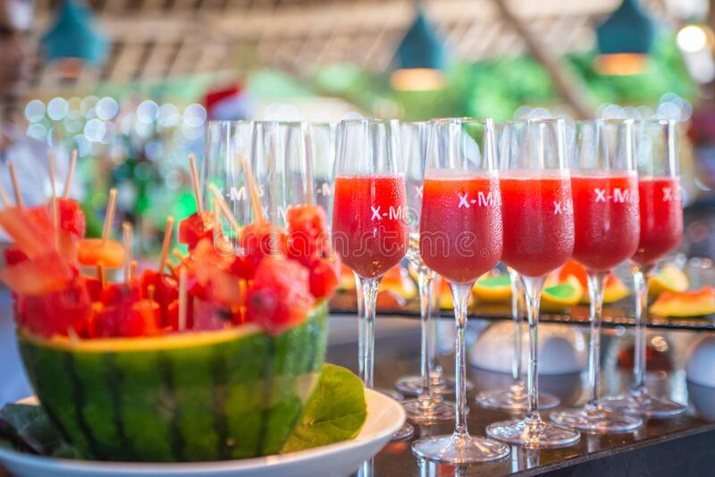 Watermelon cocktails in glasses at the bar stock photography