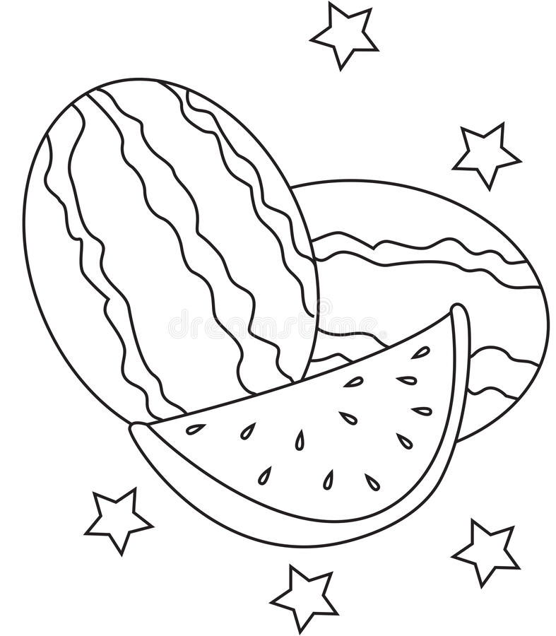 Watermelon coloring page stock illustration. Illustration of clip ...
