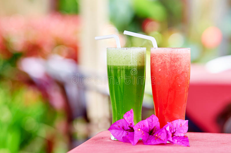 Watermelon and cucumber juices royalty free stock image