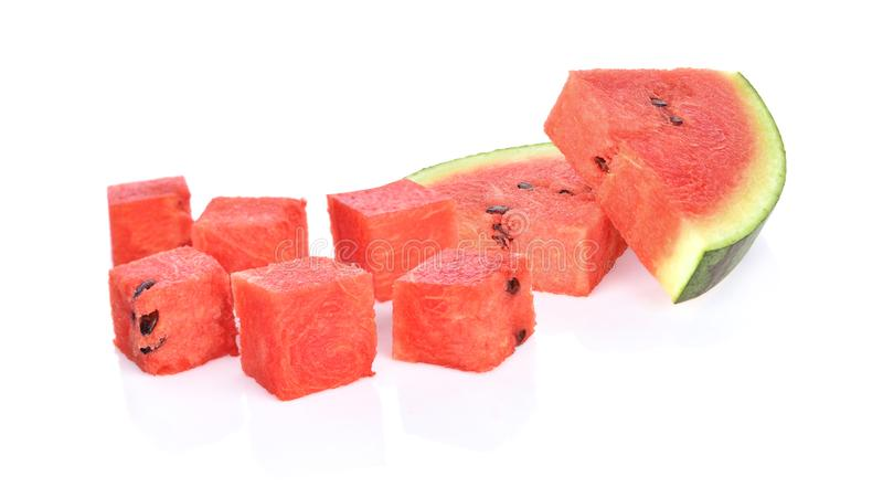 Watermelon dice on white background royalty free stock photography