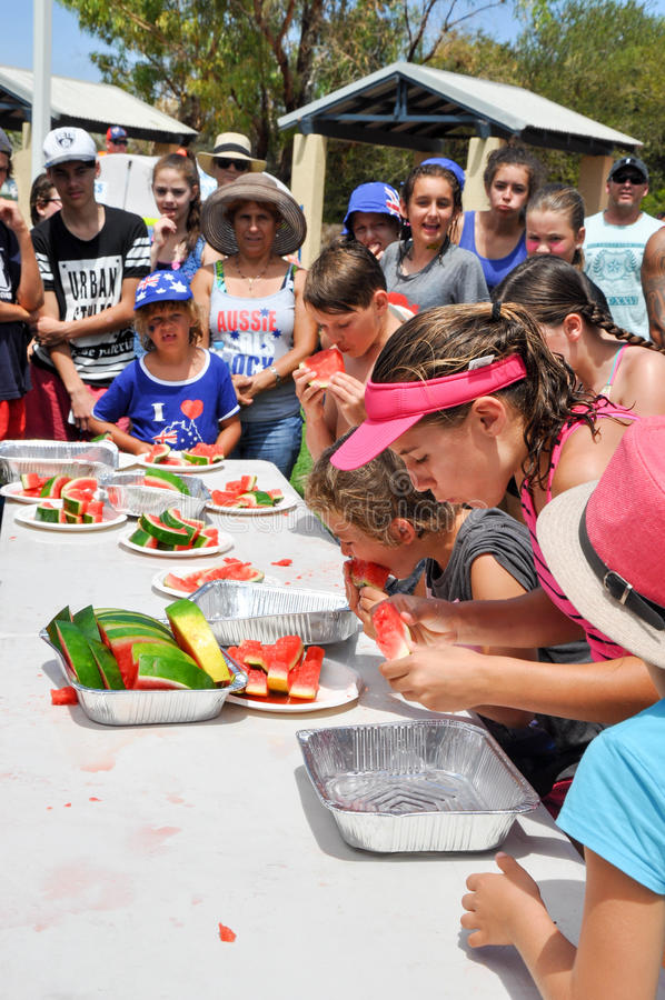 Watermelon Eating Competition stock image
