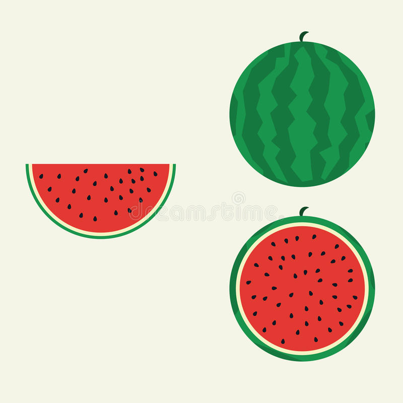 Watermelon flat vector. Watermelon in flat design 3 in 1 vector illustration