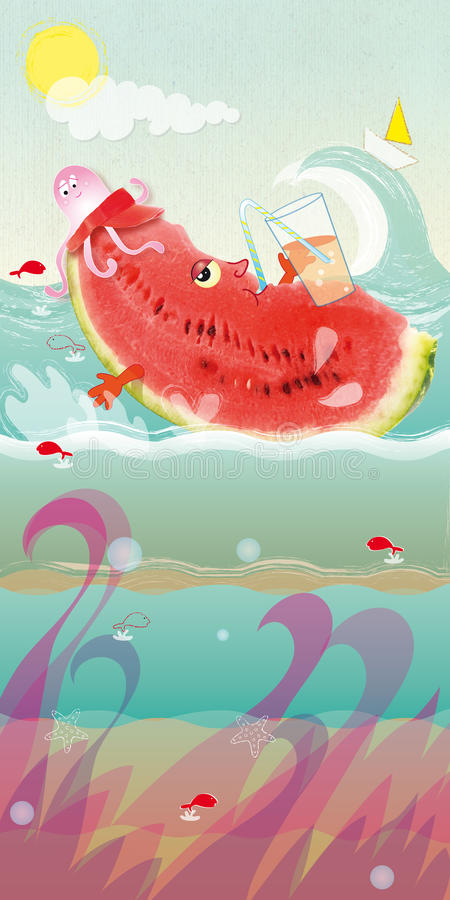 Watermelon floating. In the sea with a drink