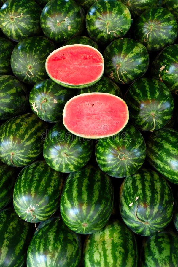 Watermelon fruit in fruits shop. royalty free stock photography
