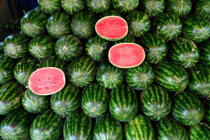 Watermelon fruit in fruits shop. royalty free stock image