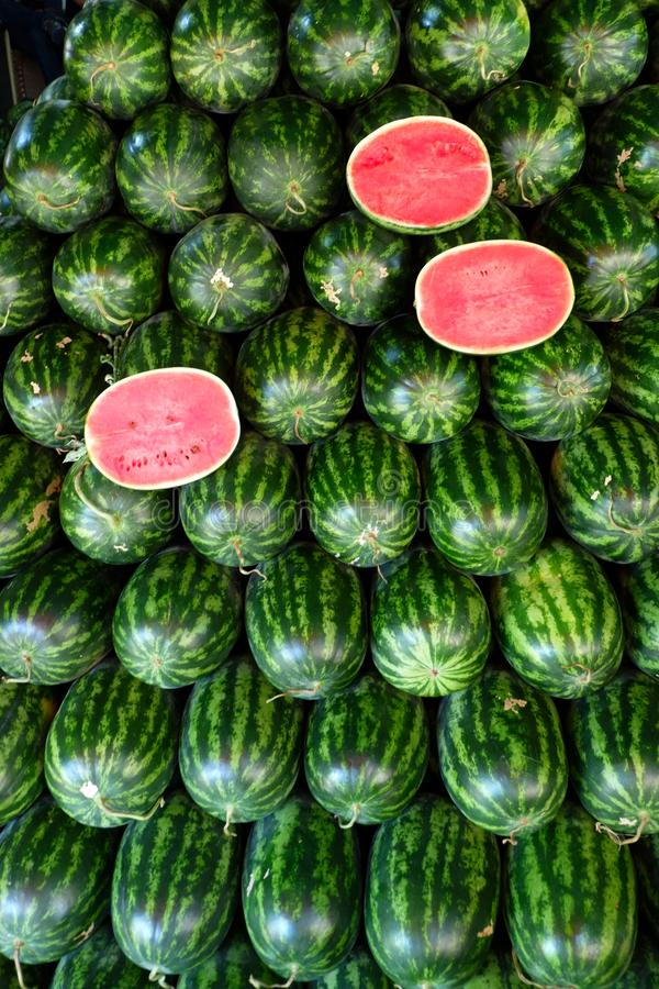 Watermelon fruit in fruits shop. stock photography