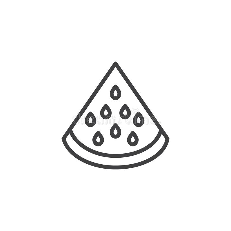 Watermelon fruit line icon. Linear style sign for mobile concept and web design. Watermelon slice outline vector icon. Symbol, logo illustration. Vector vector illustration