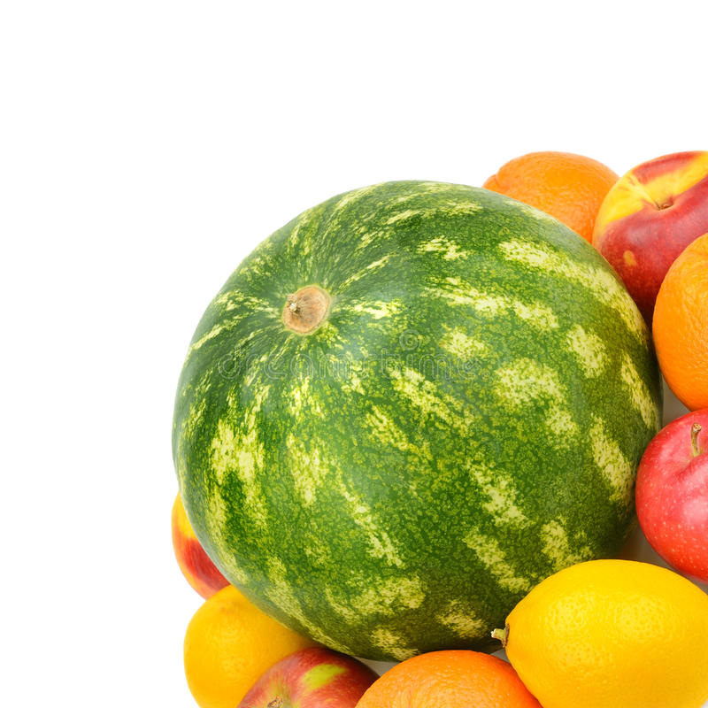 Watermelon and fruit set. Isolated on a white background royalty free stock images