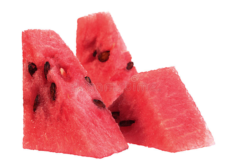 Watermelon fruit triangle slice. Closeup isolated on white background royalty free stock images