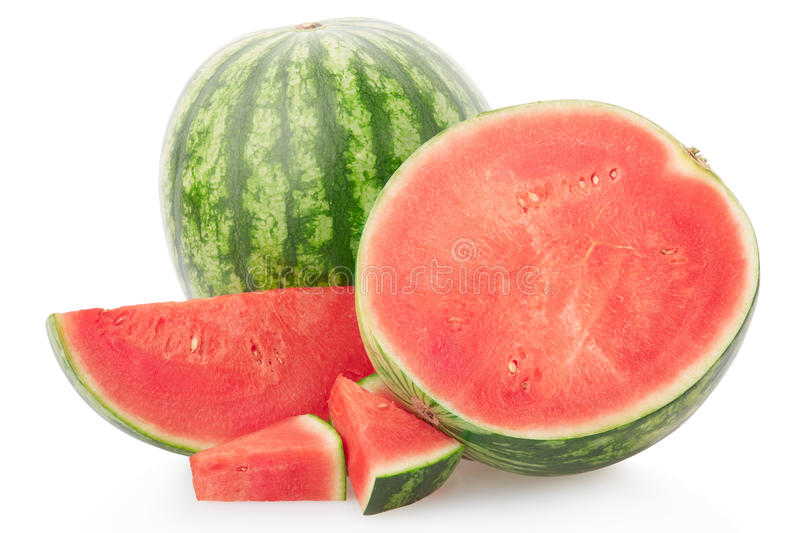 Watermelon group with section and slices, clipping path royalty free stock image