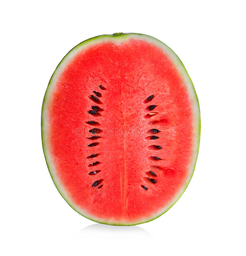 Watermelon half vertically isolated on white. Background royalty free stock photo