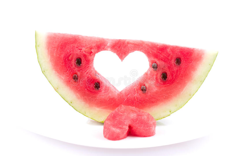 Watermelon with heart isolated. On white background stock photo