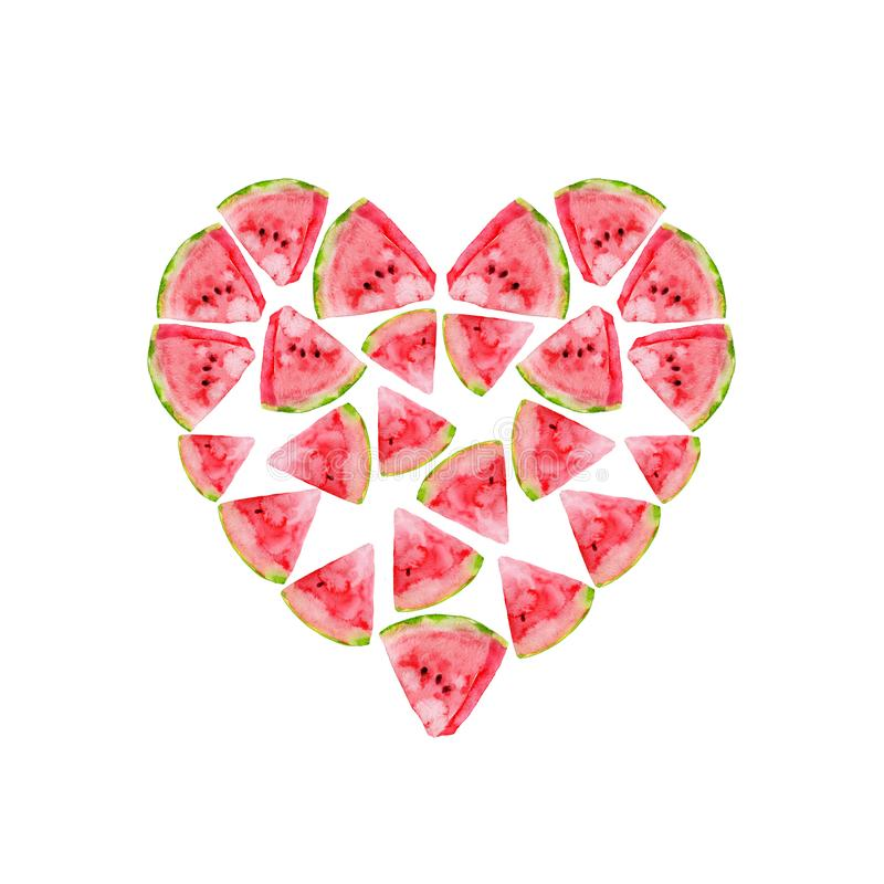 Watermelon in a heart shape royalty free stock photo