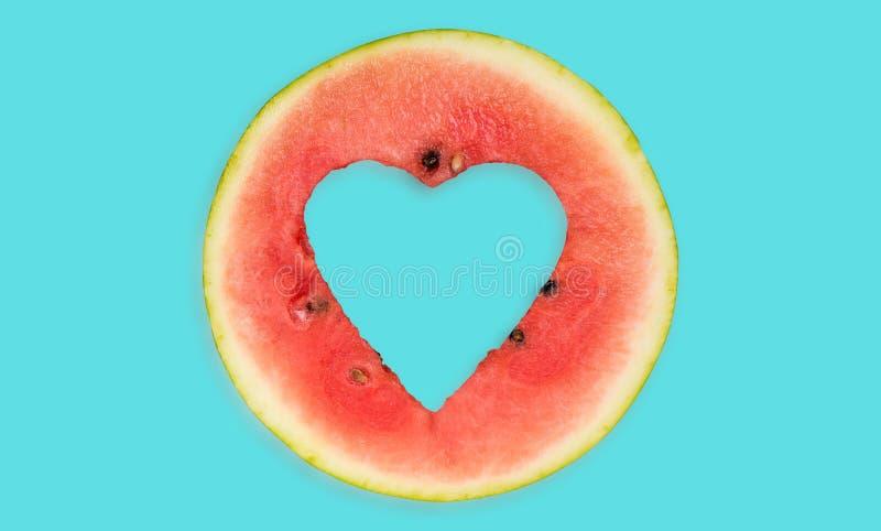 Watermelon hearth shape , creative food royalty free stock image