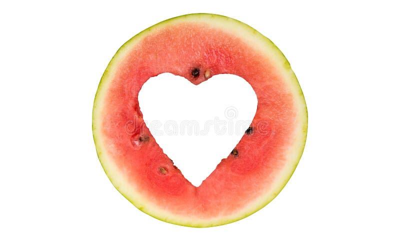 Watermelon hearth shape cut off royalty free stock photo