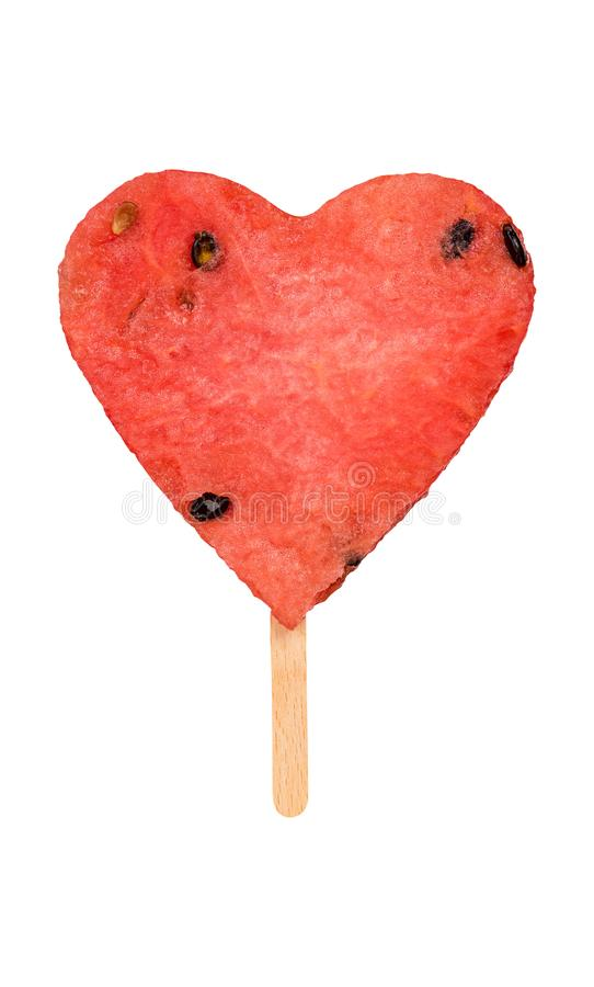 Watermelon hearth shape popsicle isolated royalty free stock photos