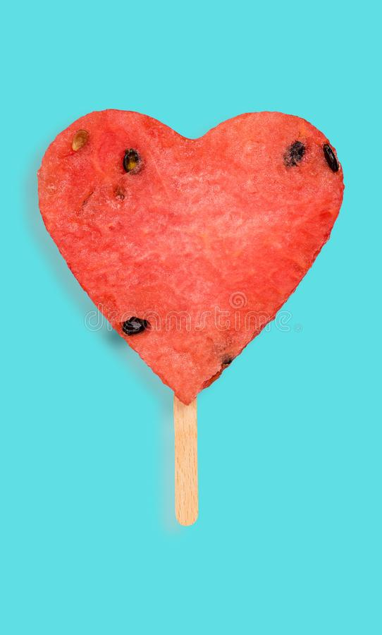 Watermelon hearth shape popsicle royalty free stock image