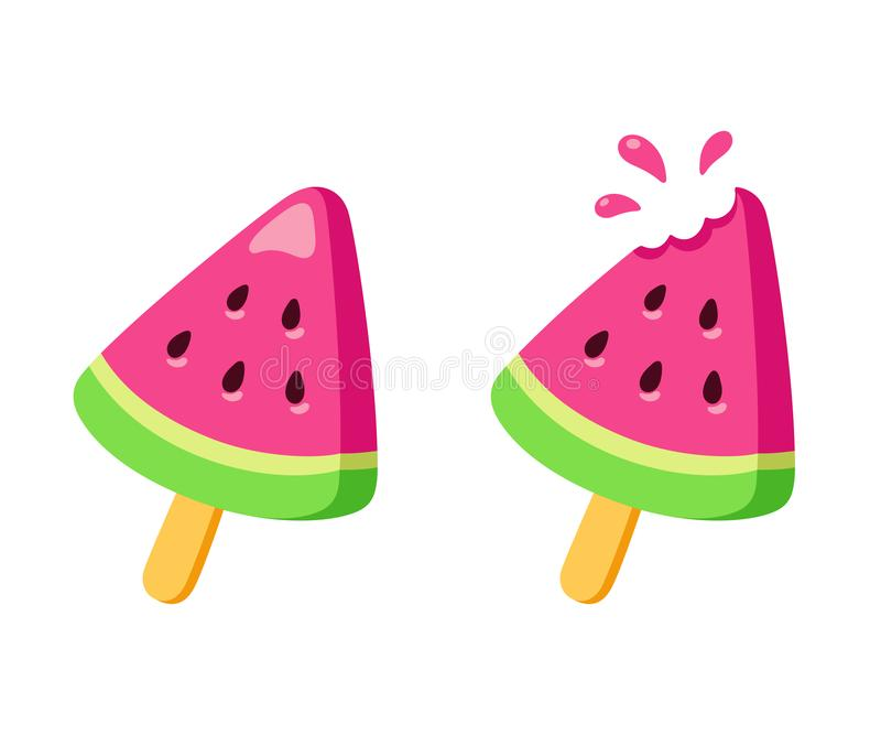 Watermelon ice cream. Whole and with missing bite. Bright fruit popsicle drawing in simple cartoon style. Isolated vector illustration royalty free illustration