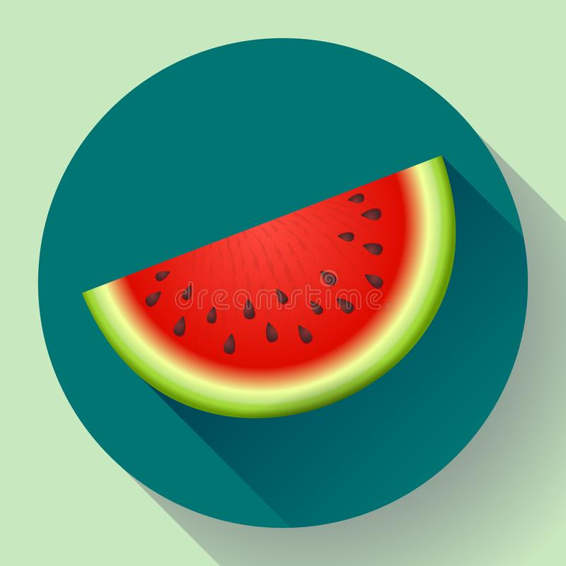 Watermelon icon vector. Sliced of watermelon vector flat fruit icon royalty free illustration