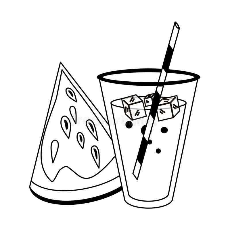 watermelon and juice cup with straw cartoon in black and white stock vector illustration of sweet slice 149330709 juice cup with straw cartoon