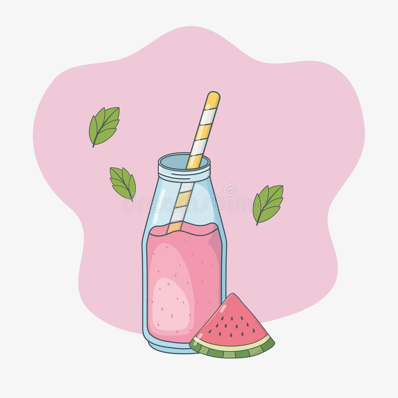 Watermelon juice fruit in bottle with straw vector illustration