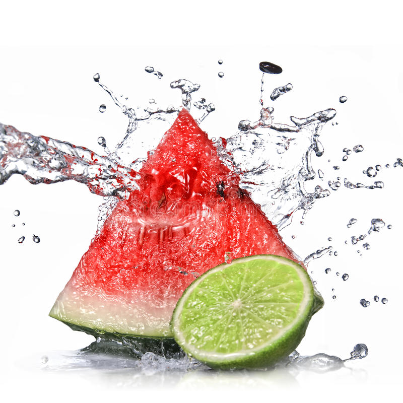 Free Watermelon, Lime And Water Splash Isolated Royalty Free Stock Photography - 39570777