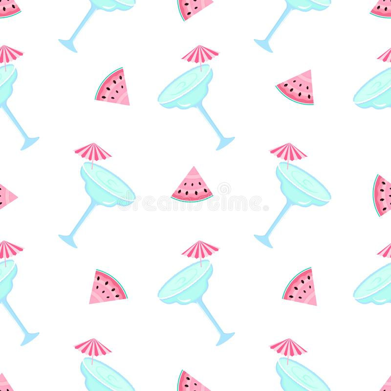 Watermelon and margarita. Summer seamless pattern. Used for design surfaces, fabrics, textiles, packaging paper, wallpaper.  royalty free illustration