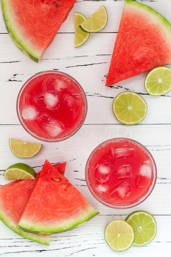 Watermelon margaritas - mexican style summer watermelon alcohol cocktail with lime. Cinco de Mayo drink recipe. royalty free stock images