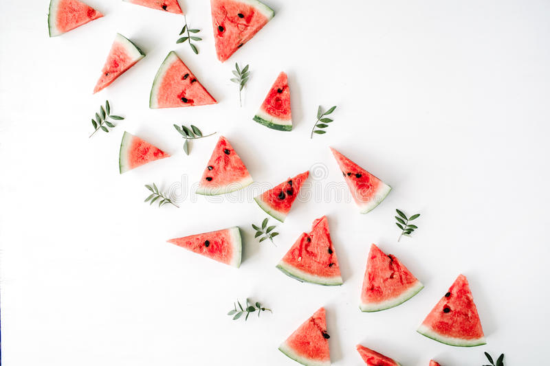 watermelon pieces pattern on white background stock photo
