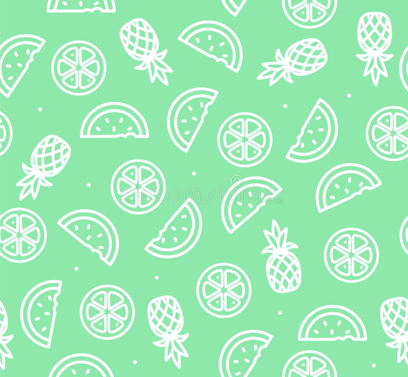 Watermelon, Pineapple and Orange Tropical Fruit Background Pattern. Vector. Watermelon, Pineapple and Orange Outline Tropical Fruit Background Pattern Summer royalty free illustration