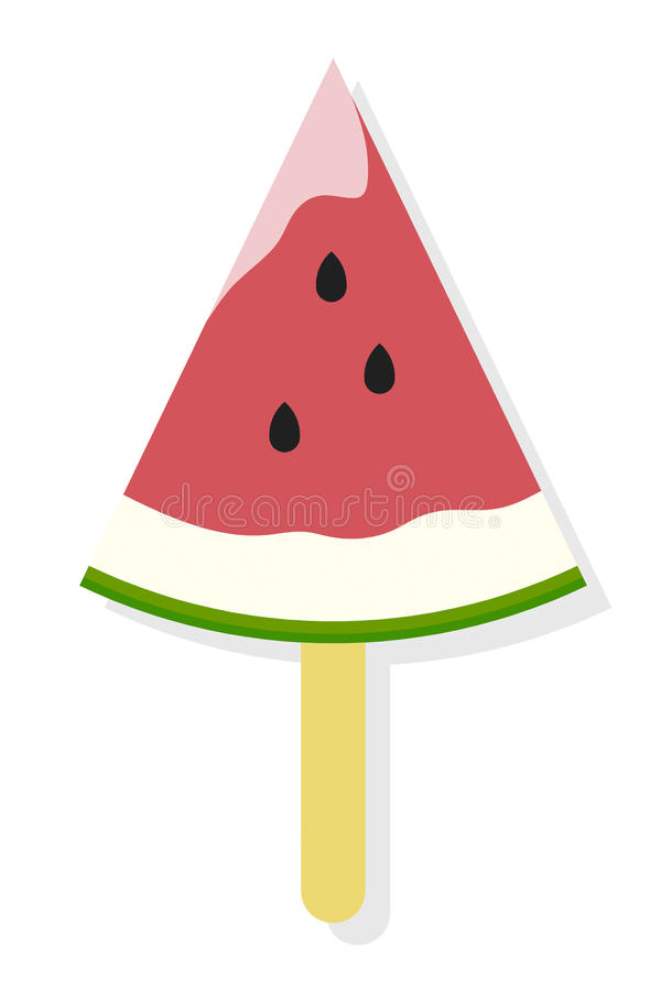 Watermelon Popsicle Flat Icon vector illustration