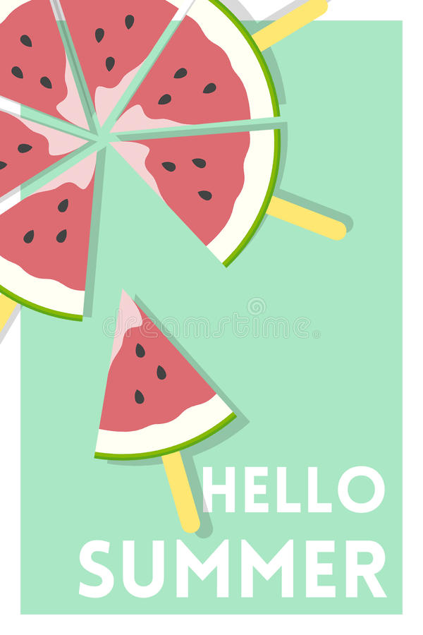 Watermelon Popsicle over Hello Summer Message Green Poster royalty free illustration