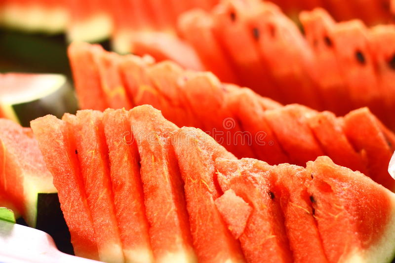 Watermelon ready to eat. Watermelon on the table ready to eat buffets stock image