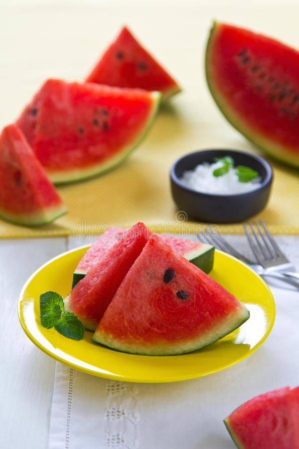 Watermelon with salt royalty free stock image