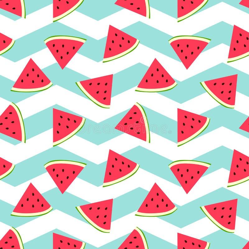 Watermelon seamless background with nice turquoise zig zag background. stock illustration