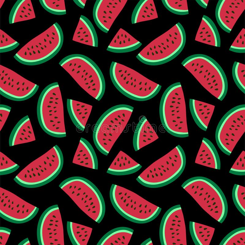 Watermelon seamless pattern. Hand drawn fresh berry. Vector sketch background. Fashion design. Red and green print for kitchen royalty free illustration