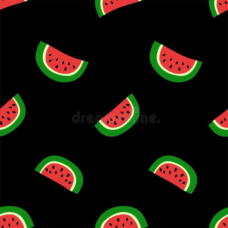 Watermelon seamless pattern. Red berry. Sweet exotic tropical fruit. Fashion design. Food print for dress. Hand drawn vector stock illustration