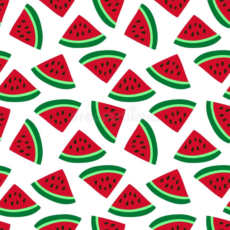 Watermelon seamless pattern. Red berry. Sweet exotic tropical fruit. Fashion design. Food print for dress, textile, curtain or stock illustration