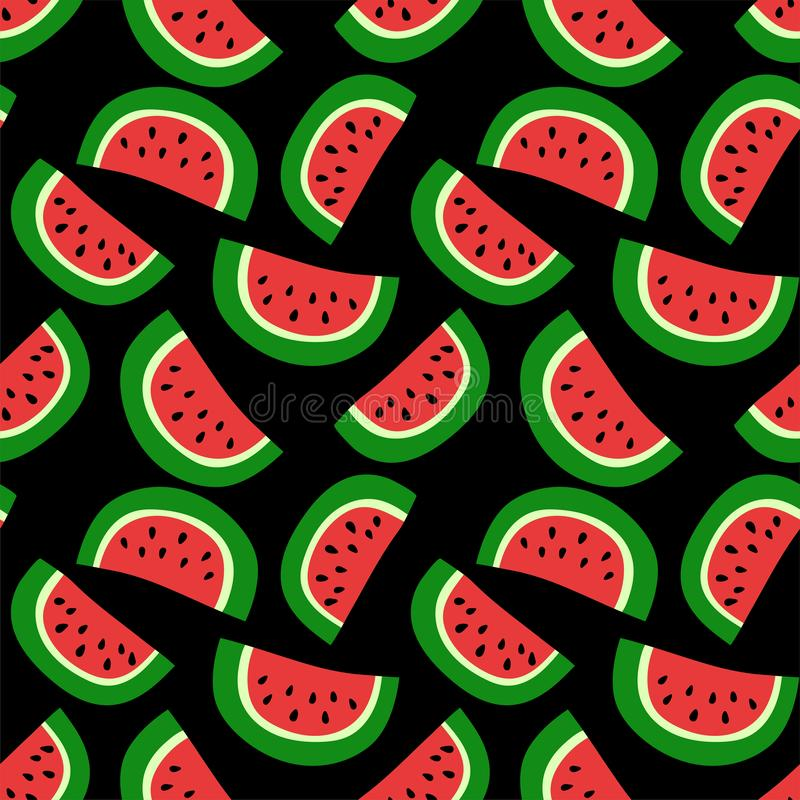 Watermelon seamless pattern. Red berry. Sweet exotic tropical fruit. Fashion design. Food print. Hand drawn vector sketch stock illustration