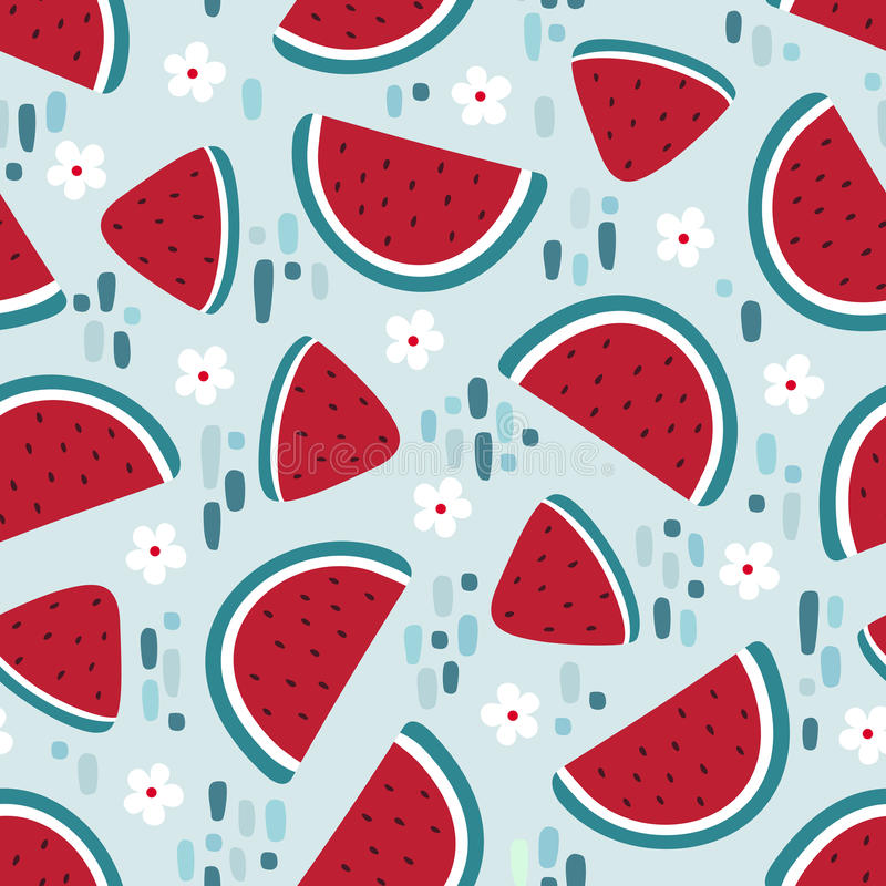 Watermelon seamless pattern with stains and flowers. Vector illustration stock illustration