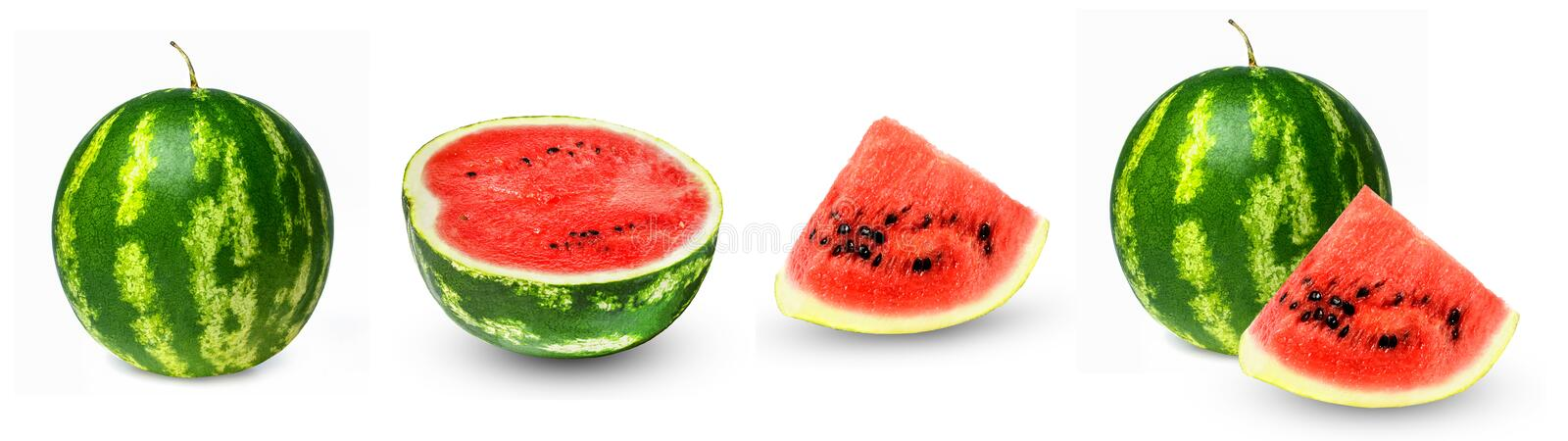Watermelon set. Whole, half, lobule. Isolation on a white background. Side view. Bright saturated colors and good texture royalty free stock photography