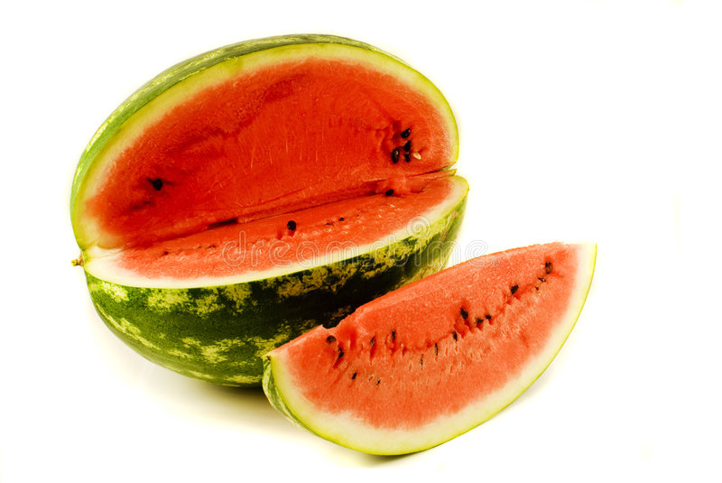 Watermelon with slice. On the white background royalty free stock image