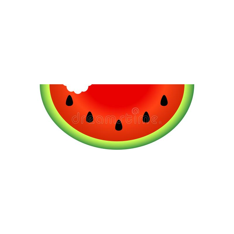 Watermelon slice fruit illustration, Fresh healthy food - organic natural food isolated. Summer concept stock illustration