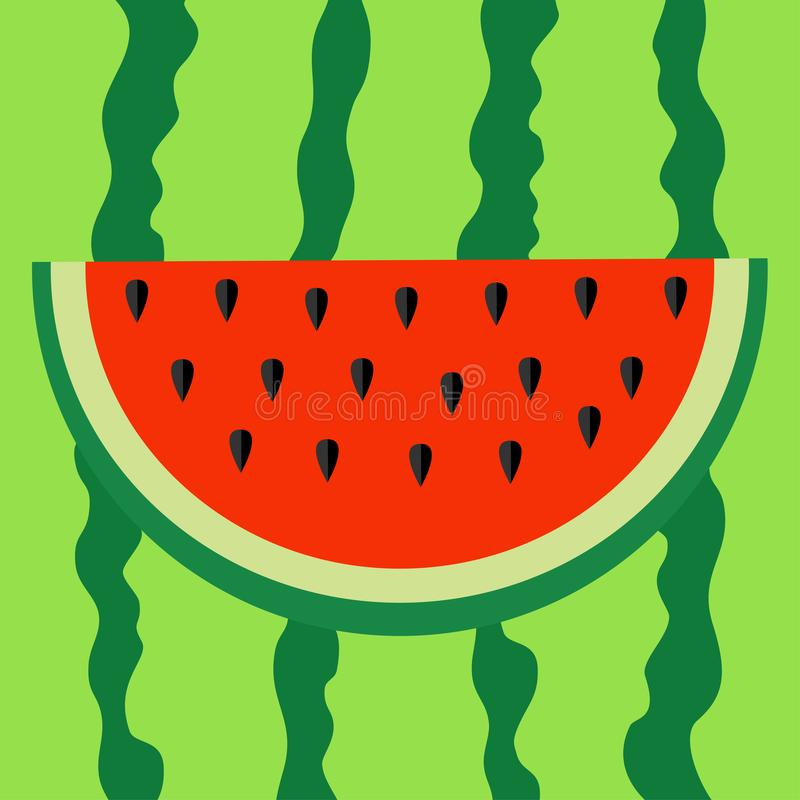 Watermelon slice icon . Cut half seeds. Red fruit berry flesh. Natural healthy food. Sweet water melon. Tropical fruits. Green str stock illustration