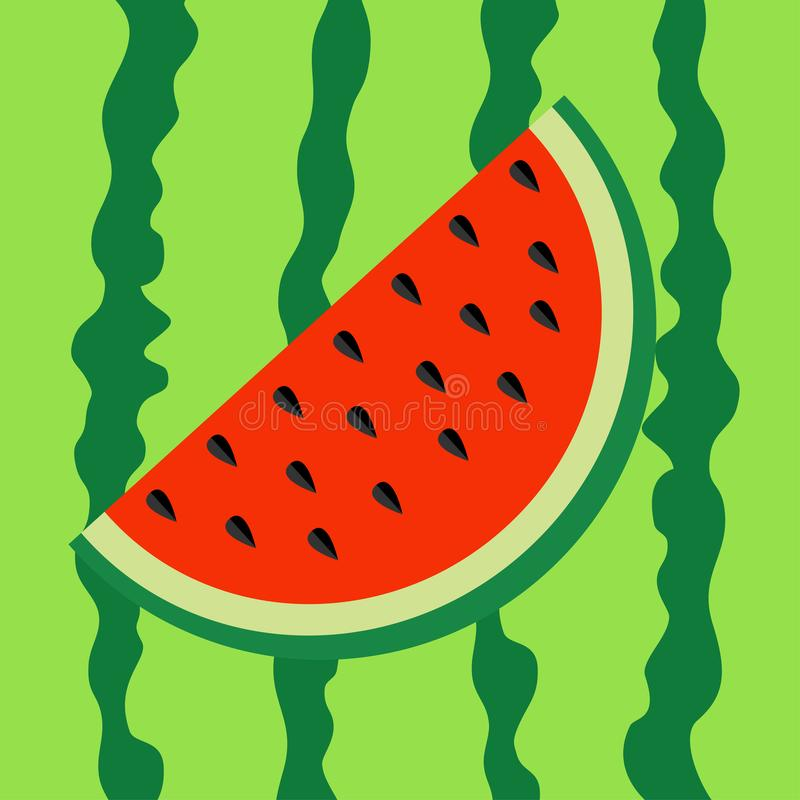 Watermelon slice icon. Cut half seeds. Red fruit berry flesh. Sweet water melon. Natural healthy food. Tropical fruits. Green stri vector illustration